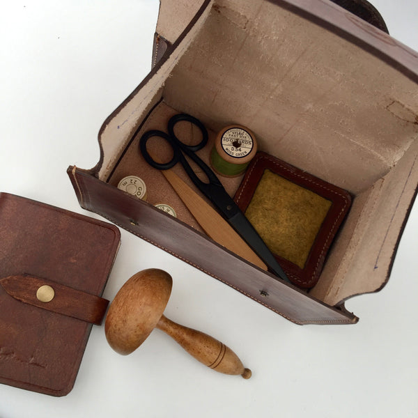 Handmade Leather Project box Gift Set (Project Box, Needle case and Pin Cushion)