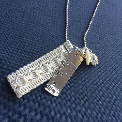Silver Tape Measure Sewing Charm Pendant