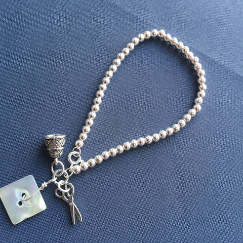 Silver Ball Bracelet and Sewing Charms