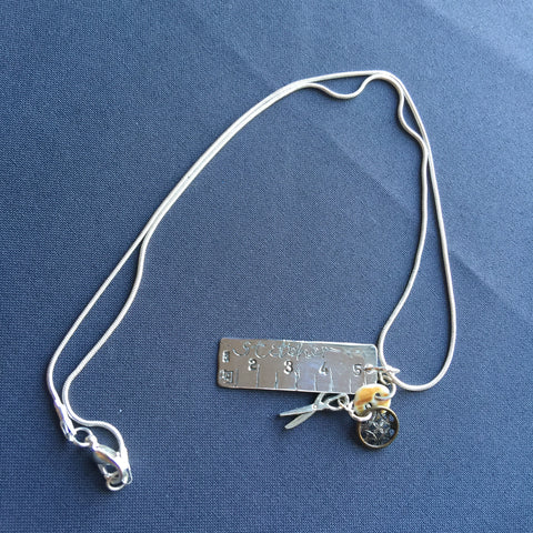 Silver Tape Measure & Sewing Charm Pendant