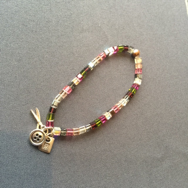 Swarorski Crystal Bead Bracelet with Sewing Charms (Pinks/Greens)