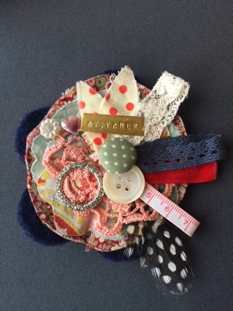 Navy Blue Stitcher Jacket Brooch