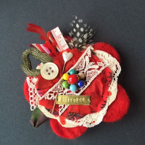 Red Stitcher Jacket Brooch