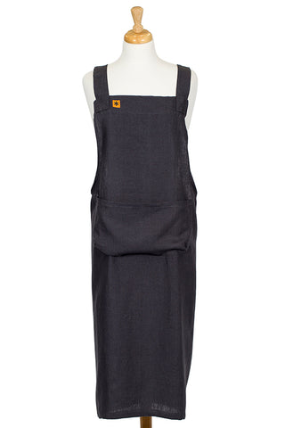 Charcoal Linen Cross Over Pinafore Apron