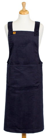 Navy Moleskin Cross-Over Pinafore Apron