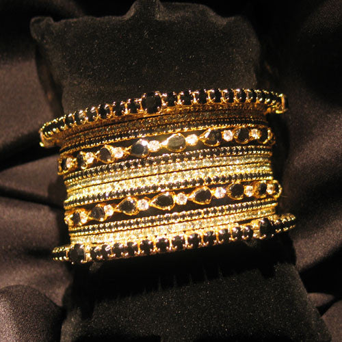 Black Stack Bangles - Fashion clothes, NYC, designer, [product type] - women's apparel, clothing, accessories, hats, attire, Siren Boutique Siren Boutique