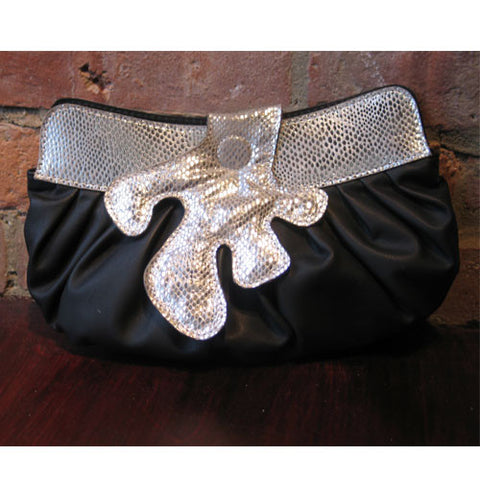 Black Clutch with Silver Snakeskin