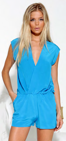 Nicki Silk Solid Romper Turquoise