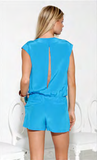 Nicki Silk Solid Romper Turquoise - Fashion clothes, NYC, designer, [product type] - women's apparel, clothing, accessories, hats, attire, Siren Boutique Siren Boutique
