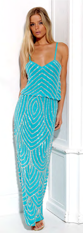 Deco Beaded Maxi Dress Turquoise