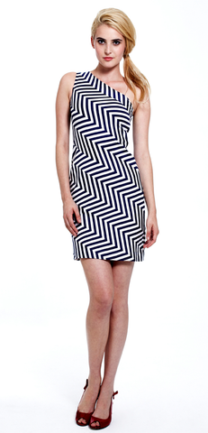 Cindy One Shoulder Stripe Dress