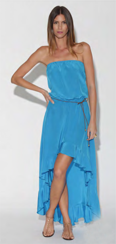 Jenna Hi Low Solid Silk Maxi Dress