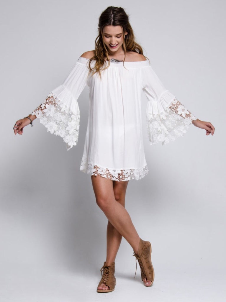 Venus off the shoulder lace dress