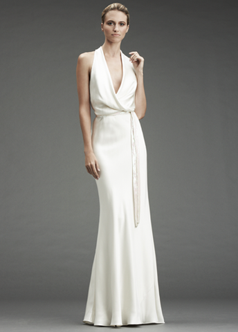 Nicole Miller Draped Halter Gown
