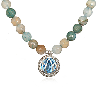 Blue Agate Invigorate Necklace - Fashion clothes, NYC, designer, [product type] - women's apparel, clothing, accessories, hats, attire, Siren Boutique Siren Boutique