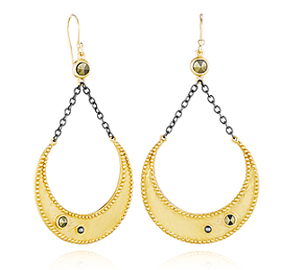 Satya Gold and Pyrite Moon Earrings