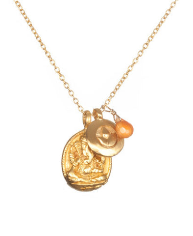 Gold Carnelian Ganesha and Lotus Necklace