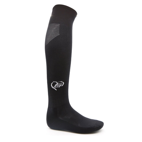 High performance girls black Softball Socks by TheGluv Athletique, fit over the knee, with calf ventilation panel. Ideal for Softball, Soccer, & Field Hockey, luxurious Nylon/Spandex knit provides ideal support, comfort, protection while minimizing weight. Available in 20 colors, and offered in both youth and adult sizes.