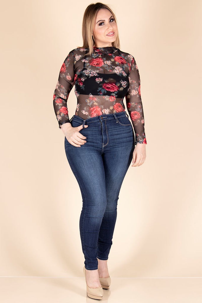 Black with Red Floral print Mesh Bodysuit