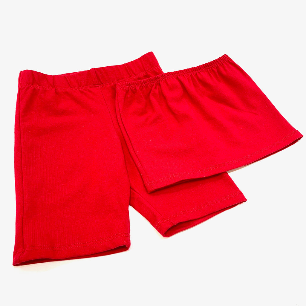 Solid Red Bandeau & Biker Shorts Set for kids