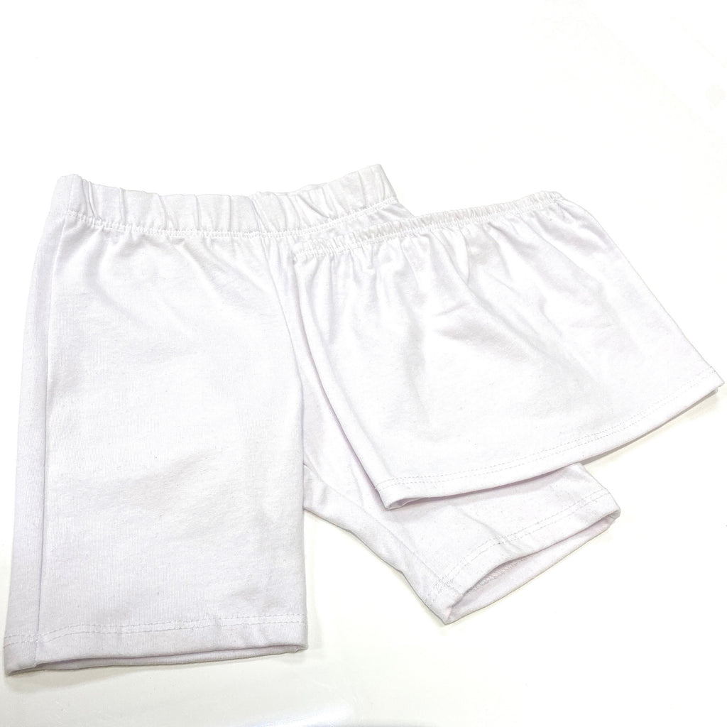 Solid White Bandeau & Biker Shorts Set for kids