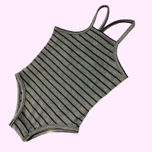 Bunny Ear-Spaghetti Strap Charcoal Striped Bodysuit