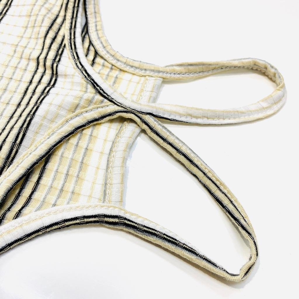 Bunny Ear-Spaghetti Strap Sand Striped Bodysuit