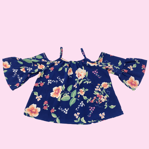 Navy Floral Bell Sleeved Top