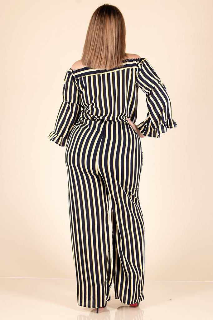 Striped Navy, White and Yellow Off-Shoulder Jumpsuit