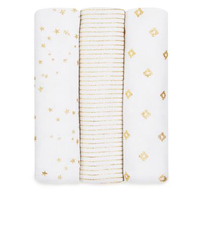 Aden + Anais Metallic Gold 3-Pack Swaddles - Belle Bellina  - 1