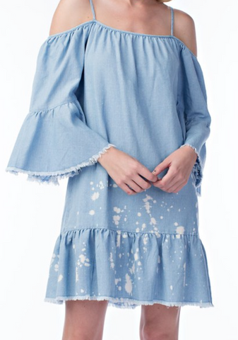 Drip Paint Ruffle Sleeve Denim Dress