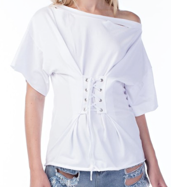 White On White Tee and Corset