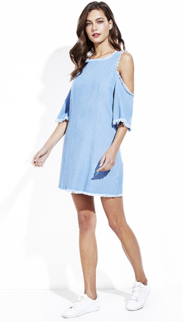 Denim Cold Shoulder Frayed Dress