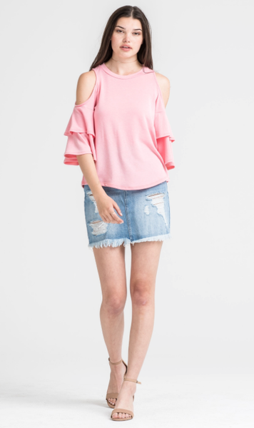 Flamingo Pink Cold Shoulder Top