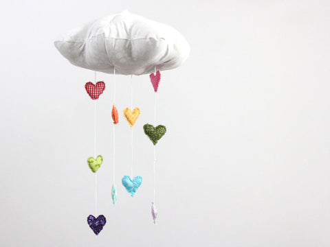 Baby Jives Rainbow Heart Cloud Mobile - Belle Bellina