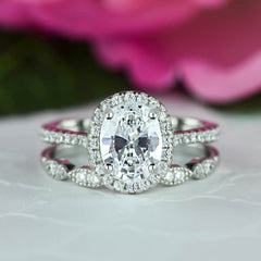 1.5 ctw Art Deco Oval Halo Wedding Set