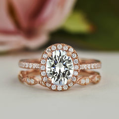 1.5 ctw Art Deco Oval Halo Set- Rose Gold