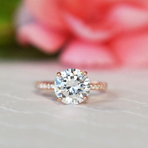 3/4 ctw Oval Accented Solitaire Ring