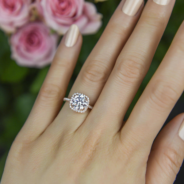 2 25 Ctw Square Halo Engagement Ring Rose Gold Tiger Gems