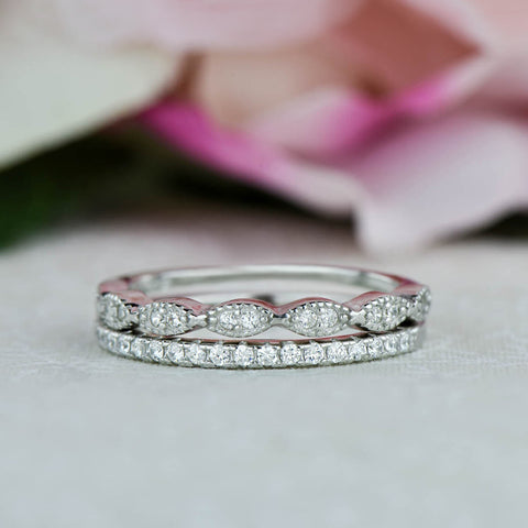 Art Deco Half Eternity Band Set