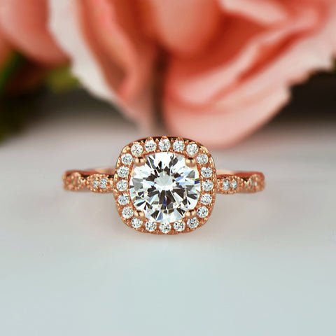 1.25 ctw Art Deco Halo Ring - Rose Gold