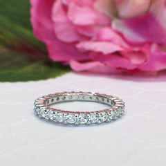 1 ctw 2mm Eternity Band - 10k Solid White Gold