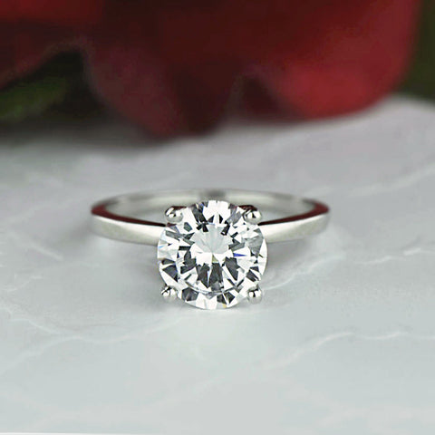 2 ct 4 Prong Solitaire Ring - 10k Solid White Gold
