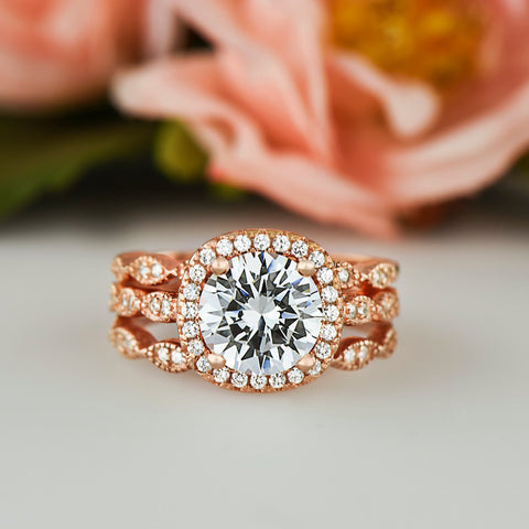 1.5 ctw Pear Halo Set - Rose Gold
