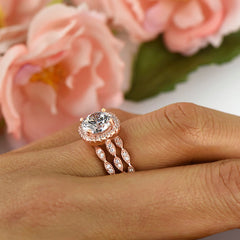 2.25 ctw 3 Band Art Deco Halo Set - Rose GP