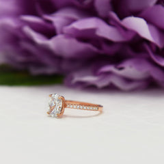 2.25 ctw Oval Accented Ring - Rose GP