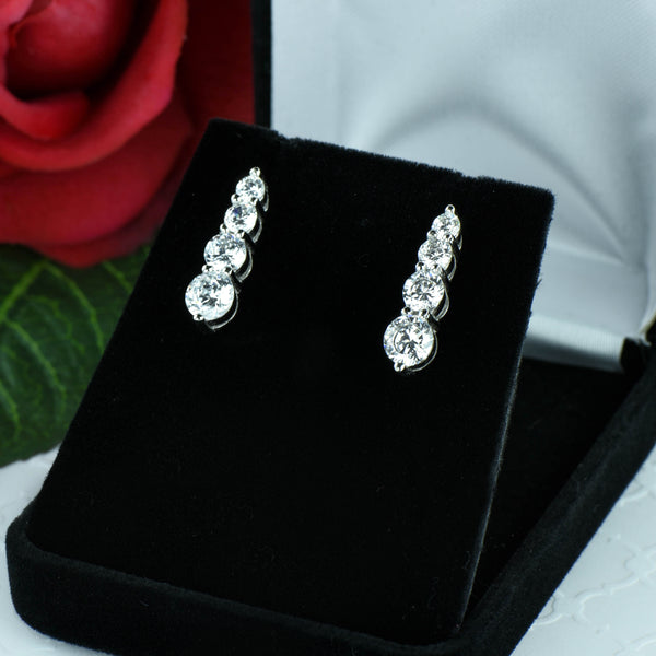 4 ctw 4 Stone Graduated Earrings