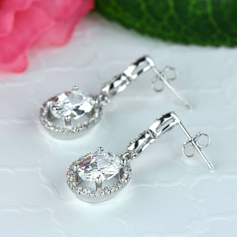 4 ctw Oval Halo Dangle Earrings
