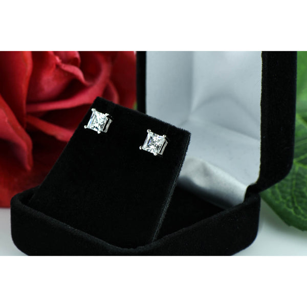 1.5 ctw Princess Cut Earrings