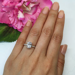 2.25 ctw Oval Accented Solitaire Ring - 10k Solid White Gold - restock mid April